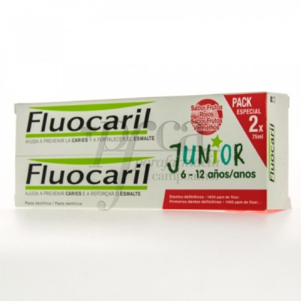 FLUOCARIL JUNIOR 6-12A FRUTOS ROJOS 2X75ML PROMO