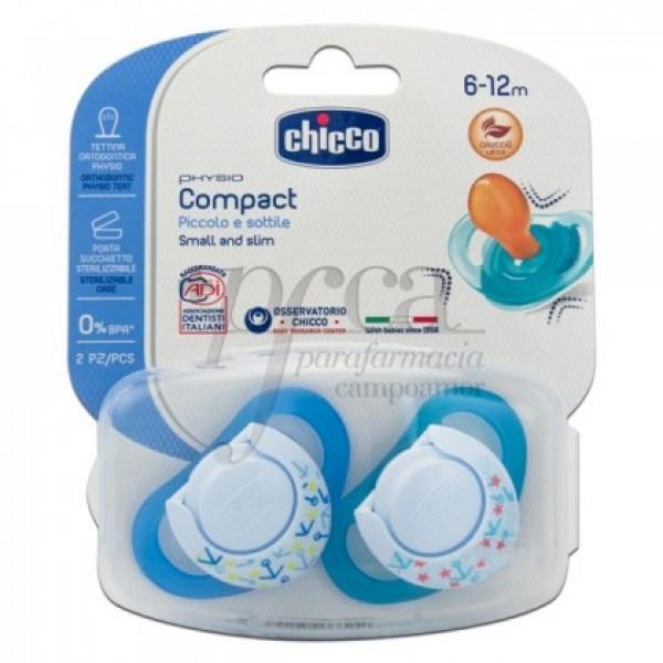 CHICCO 2 CHUPETES PHYSIO COMPACT CAUCHO 6M+ NIÑO
