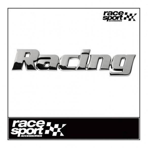 """Emblema """" racing """" cromado. 25x150 mm."""