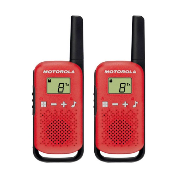 Motorola talkabout t42 rojo walkie talkies 4km 16 canales pantalla lcd
